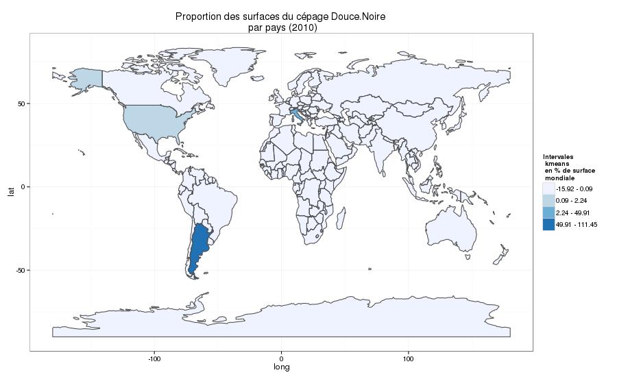 répartition de la Douce Noire dans le monde en 2010